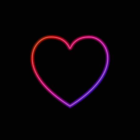 Vector neon gradient colored heart frame template isolated on black background, glowing icon, light, illumination, love symbol. 일러스트