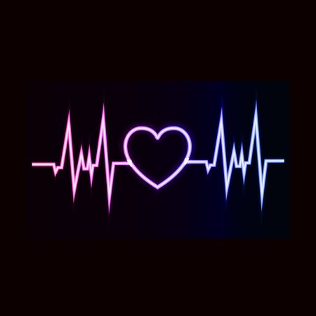 Vector heartbeat icon, gradient neon color, shining illustration isolated on black background, abstract light, heart beat sign. 일러스트