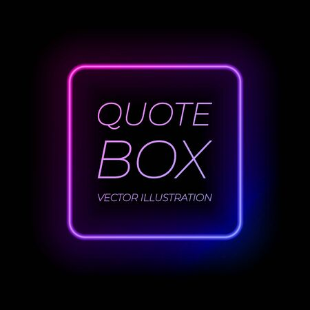 Vector neon frame, ultraviolet gradient color, colorful square frame template isolated on black background, shining light.