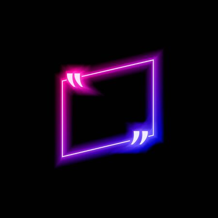 Vector neon gradient blue and pink colorful quote frame isolated on black background, glowing bubble template, square asymmetrical shape, abstract lights, multicolored blank border.