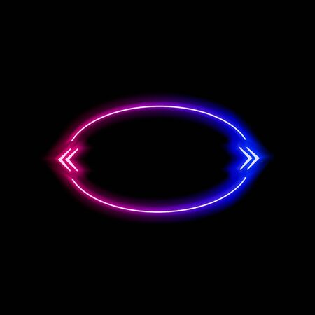 Vector neon gradient blue and pink colorful quote frame isolated on black background, glowing bubble template, ellipse shape, abstract lights, multicolored blank border. 일러스트