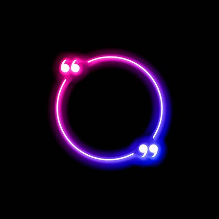 Vector neon gradient blue and pink colorful quote frame isolated on black background, glowing bubble template, circle shape, abstract lights, multicolored blank border.