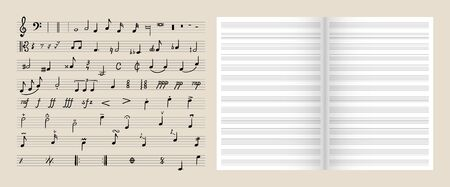 Vector set of musical design elements, isolated open book with a lines and collection of hand drawn notes and music symbols.