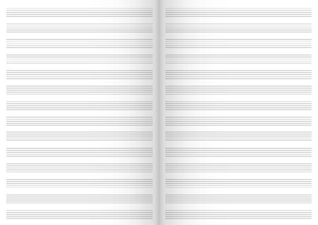 Vector Note Sheet, Musical Staff A4 Format, Open Book with a Shadows, black and white.