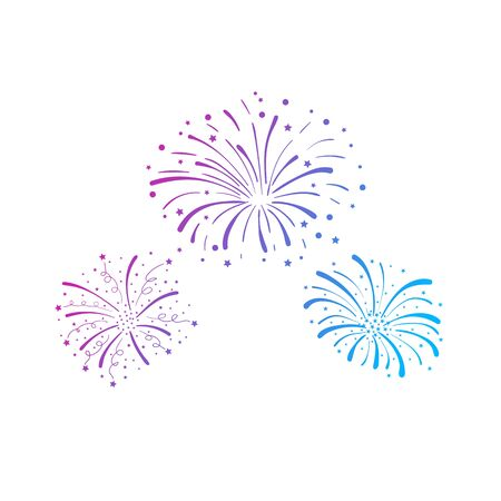 Vector gradient colored firework explosions isolated on white background, colorful decorative element, celebration cencept, hand drawn firecrackers.