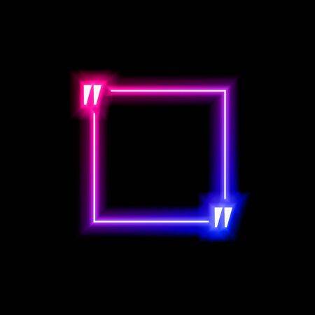 Vector neon gradient blue and pink colorful quote frame isolated on black background, square shape, abstract lights, multicolored blank border.