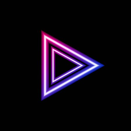 Vector neon colors gradient arrow isolated on black background, glowing sign template, triangle shape, bright pink and blue color, colorful icon. 일러스트