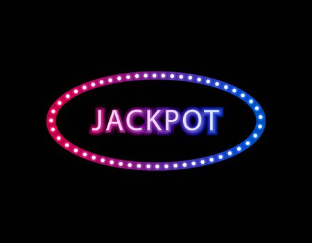 Vector Jackpot neon gradient sign isolated on black background, abstract lights on the dark background, advertising template, glowing frame, ellipse shape.