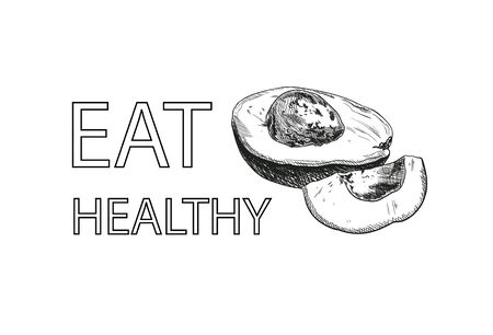 Vector eat healthy banner with a hand drawn avocado isolated on white background, black and white illustration, healthy eating concept, fruit icon. 일러스트