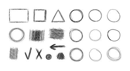 Vector set of hand drawn design elements, black and white illustration, sketched icons collection, white background, different shapes, shaded abstract forms, abstract graphic elements.