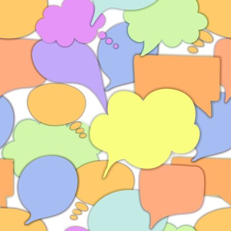 Vector seamless pattern, talk bubbles, colorful background template, communication concept, speech bubble icons with a shadows isolated on white background.