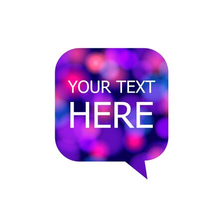 Vector speech bubble, glowing lights texture, bokeh abstract background, frame template isolated on white background, graphic art, glowing image.