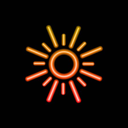 Vector colorful glowing sun icon isolated on black background, neon outline illustration template, simple sign, gradient color.