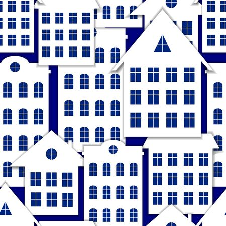 Vector seamless pattern, paper art style flat houses with shadows on a blue background, colorful illustration, cartoon city, winter graphic backdrop.