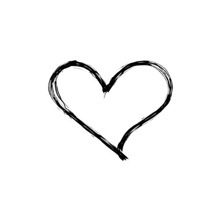 Vector scribble heart, hand drawn icon isolated on white background, black outline drawing, simple sketch, love symbol. 일러스트