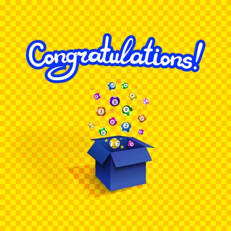 Vector congratulations background, colorful winning prize illustration, bright yellow backdrop and blue surprise box, lottery balls, confetti explosion, lettering. 일러스트
