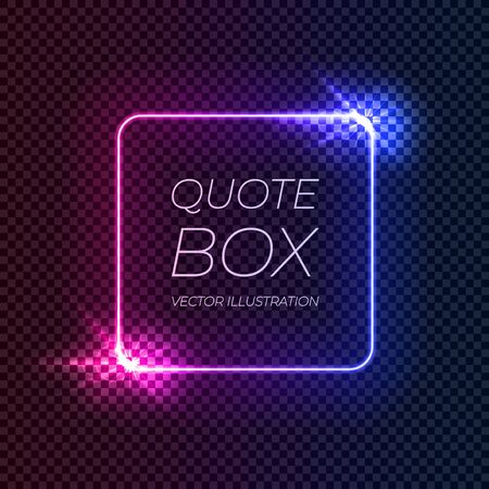 Vector Neon gradient square frame template isolated on dark transparent background, pink and blue blurred colors, shine effect, square colorful border.