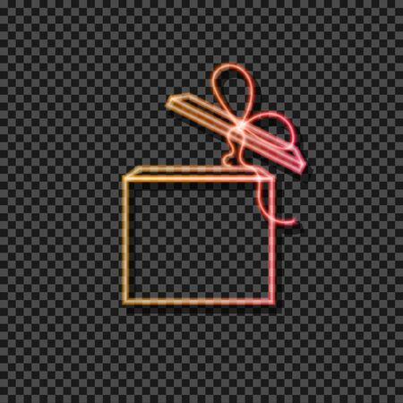 Vector neon gradient yellow and red gift box icon isolated on dark transparent background. Luminous sign template. Square box. 일러스트