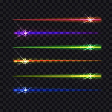 Vector abstract light motions, different bright colours, brush strokes isolated on dark transparent background, rainbow colorful design elements, shine, glow, glitter. 일러스트