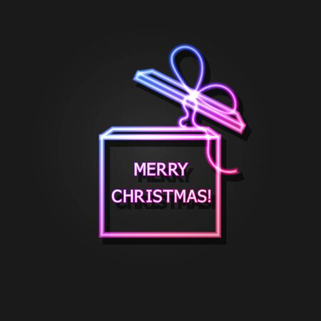 Vector christmas gift neon gradient icon isolated on dark background, present box with a shadow, outline illustration template, neon lettering, shining holiday illustration. Фото со стока - 149131301