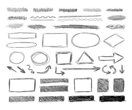 Vector set of grunge hand drawn design elements isolated on white background, shaded textures and underline strokes, arrows and sketched geometric shapes, scribble lines, hatching drawings.