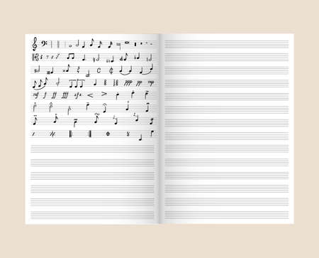 Vector music notes in the musical note, realistic book template, background, graphic design elements, musical education concept. Фото со стока - 151327375