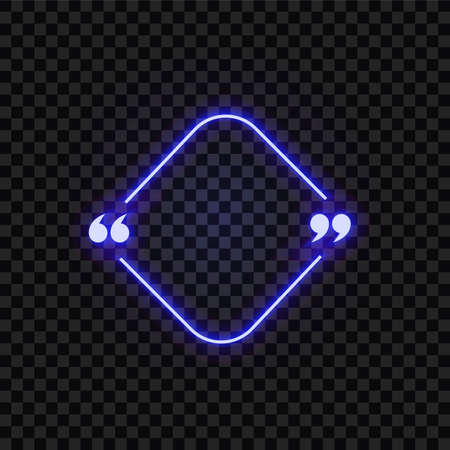 Vector neon frame sign, blue color, square shape, geometric frame templatem abstract, glowing light, decorative element isolated on dark transparent background. Фото со стока - 151487477