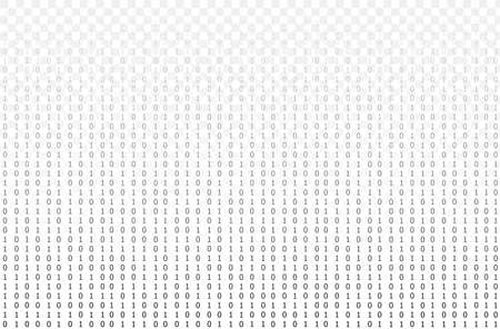Vector transparent matrix data background template, black and white, isolated graphic technology background, black digits, minimal design, gradient transparency. Фото со стока - 151619210