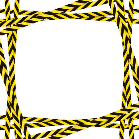 Vector attention frame template, yellow and black colorful lines, square frame template, danger sign, striped ribbons, decorative element isolated on white background.