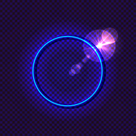 Vector neon blue circle isolated on dark transparent background, glowing illustration with a shining effect, blank frame template, bright blue color.