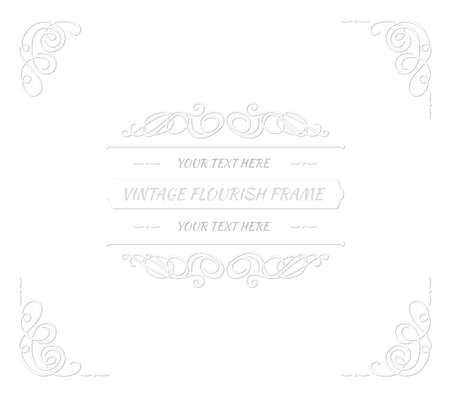 Vector vintage paper art style frame template, white cutout swirls with shadows on white background, retro style background, monochrome decoration.
