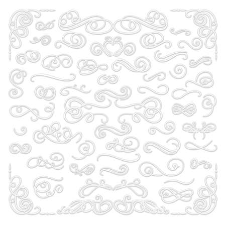 Vector set of paper cutout style 3D filigree set, calligraphic design elements, decorative swirls, white decorations, shadows, white ornate frames and corners collection.