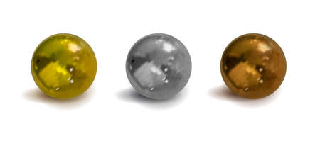 Vector realistic metallic balls set with shadows isolated on white background, 3D illustration, golden, chrom, silver, bronze colors, shiny material. Иллюстрация