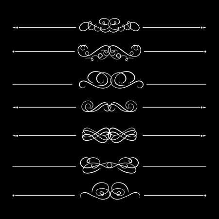 Vector set of calligraphic divider lines, white design elements isolated on black background, vintage style, flourish decorative lines. Ilustracje wektorowe