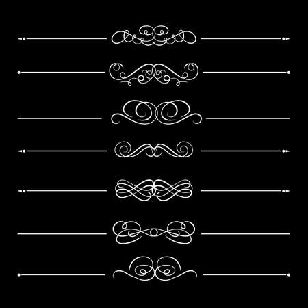 Vector set of calligraphic divider lines, white design elements isolated on black background, vintage style, flourish decorative lines.