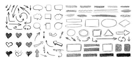 Vector set of hand drawn elements isolated on white background, black scratched hatch drawings, circles, arrows, hearts, talk bubbles, square frames, underline strokes, scribble lines, doodling. Иллюстрация