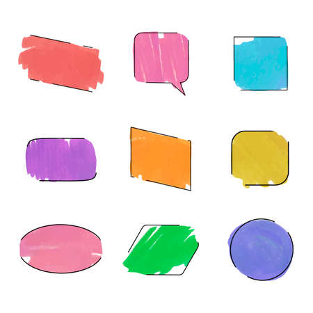 Vector collection of colorful frames isolated on white background, diffect colors, blank frames, brush strokes, hand drawn painting illustration, black lines, bright colors. Иллюстрация