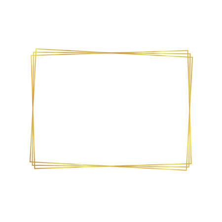 Vector golden frame isolated on white background, blank template, rectangular shape, square frame, colorful background, graphic art.