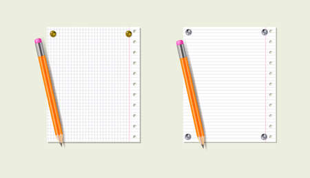 Vector notepad paper sheets, isolated templates, 3D pencils, blank sheets, lined paper from a block, realistic vector illustration.