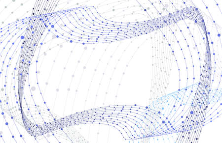 Vector Mesh, White Background, Blue Network Swirls, Connected Dots, Swirly Lines, Abstract Graphic Backdrop Template.