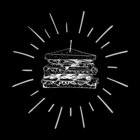 Vector Chalk Drawn White Sandwich Sketch on Black Background with Retro Shining Circle Frame. Фото со стока - 156366651