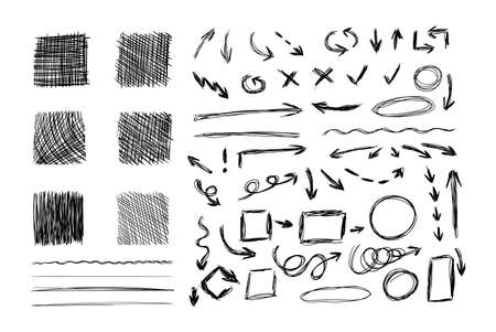 Vector Set of Sketched Design Elements, Hatch Drawing Textured Squares, Arrows, Scribble Lines, Different Geometric Shapes, Black and White Illustration. Фото со стока - 156510920
