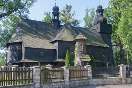 Baroque Roman Catholic church of Saint Hedwig from the year 1711. The village Bierdzany, Opolskie, Poland, Europe. Imagens