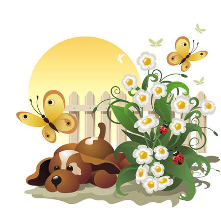childish: background with doggy, flowers and butterflies