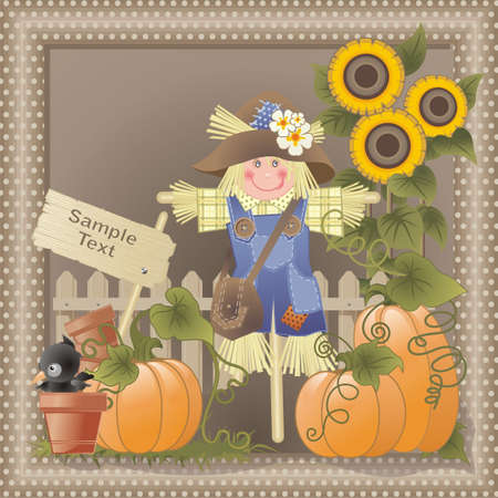 pumpkin patch: country composition with funny characters