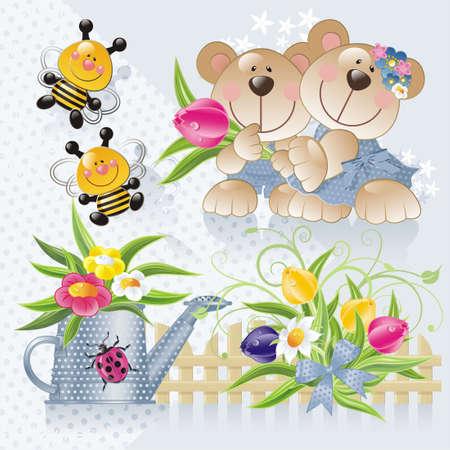 cute bears in a garden Stock Photo - 5128148