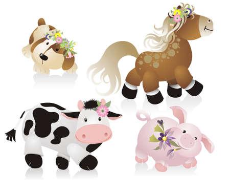 cute domestic animals Vector