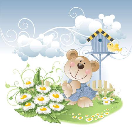 bear and daisies Stock Vector - 5429041