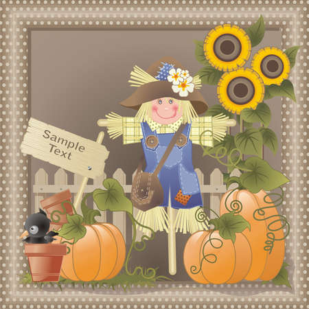 fall composition with funny characters  Vector