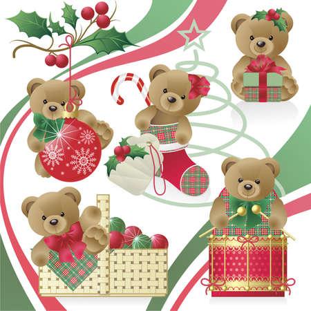 osos de peluche: Navidad Teddy Bears  Vectores